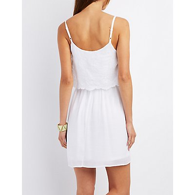 Embroidered Sleeveless Layered Dress