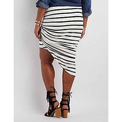 Plus Size Striped & Knotted Asymmetrical Skirt