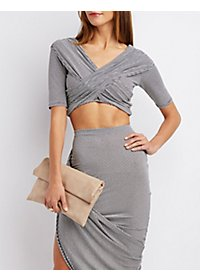 Ruched Crisscross Crop Top