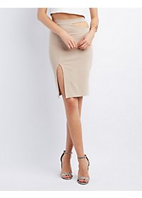 Double Slit Bodycon Pencil Skirt