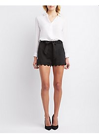 Hyfve Scalloped High-Rise Shorts