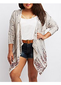 Plus Size Printed Cascade Cardigan Sweater