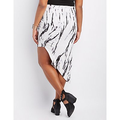 Plus Size Printed & Knotted Asymmetrical Skirt