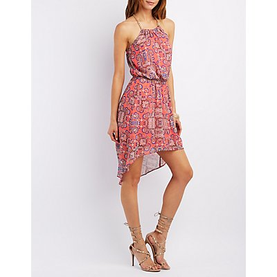Chain Neck Paisley High-Low Dress