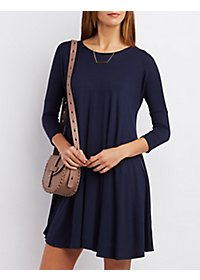 Dropped Shoulder Trapeze Shift Dress