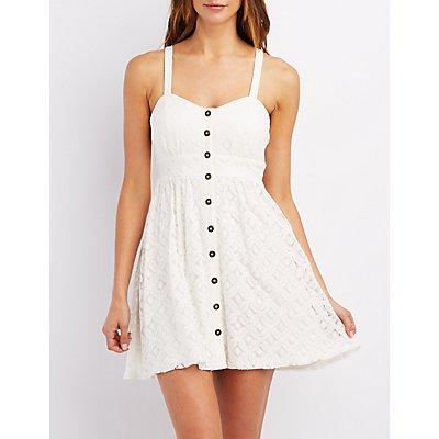 Crochet Button-Up Babydoll Dress