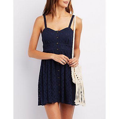 Crochet Button-Up Babydoll Dress