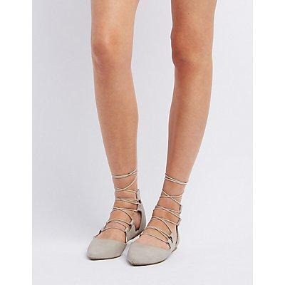 Lace-Up Pointed Toe Flats