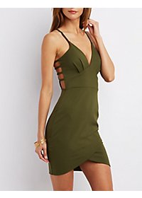 Caged Envelope Hem Bodycon Dress