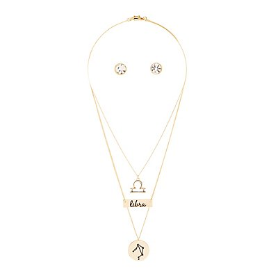 """Libra"" Astrology Necklace & Earrings Set"