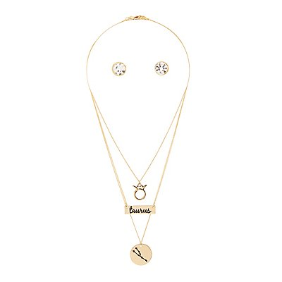 """Taurus"" Astrology Necklace & Earrings Set"