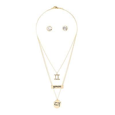 """""""Gemini"""" Astrology Necklace & Earrings Set"""