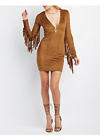 Rehab Faux Suede Fringe Bodycon Dress