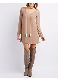 Tassel-Tie V-Neck Shift Dress