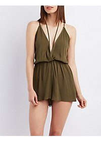 Strappy Plunge Sleeveless Romper