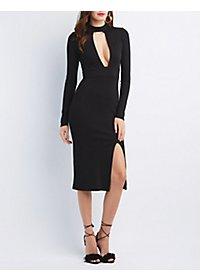 Plunging Cut-Out Midi Dress