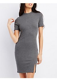 Ribbed Short Sleeve Bodycon Dress