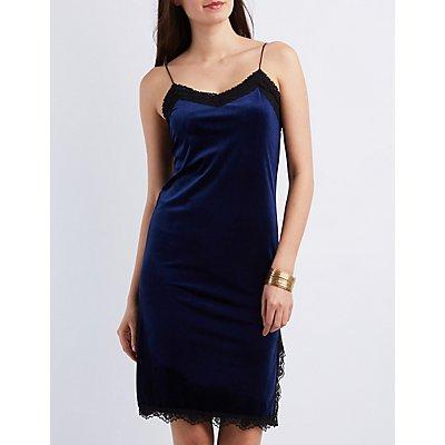 Lace-Trim Velvet Slip Shift Dress