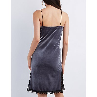 Lace-Trim Velvet Slip Shift Dress