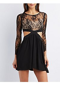 Lace Bust Cut-Out Skater Dress