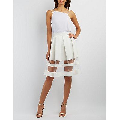 Organza Stripe Full Midi Skirt