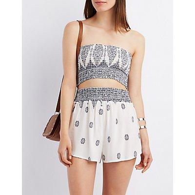 Smocked Waist Printed Shorts