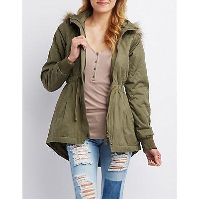 Faux Fur-Trim Zip-Up Anorak Coat