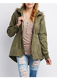 Faux Fur-Trim Zip-Up Anorak Coat