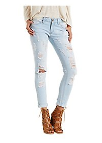 Dollhouse Destroyed Light Wash Skinny Jeans