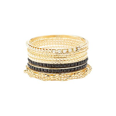 Textured Chain Bangle Bracelets - 10 Pack