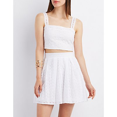 Eyelet Open-Back Crop Top