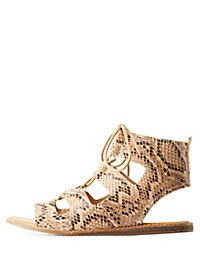 Bamboo Lace-Up Flat Sandals