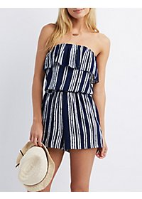 Striped Strapless Romper