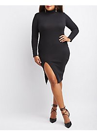 Plus Size Ribbed Mock Neck Bodycon Dress