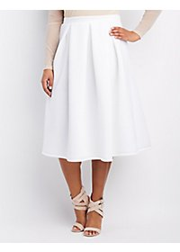 Plus Size Pleated Scuba Midi Skirt