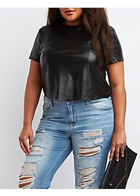 Plus Size Perforated Faux Leather Tee