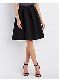 Pleated Full Scuba Skirt