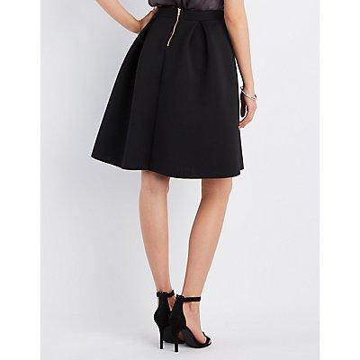 Pleated Full Scuba Skirt