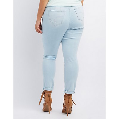 Plus Size Light Wash Butt Lifter Jeans