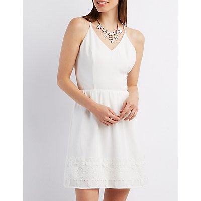 Strappy Crochet Trim Skater Dress