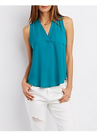 Sleeveless Pullover Pocket Top
