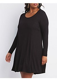 Plus Size Long Sleeve Trapeze Shift Dress