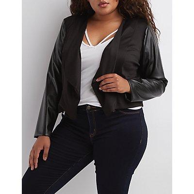 Plus Size Faux Leather Sleeve Blazer