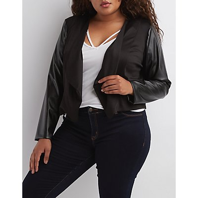Plus Size Faux Leather Sleeve Blazer