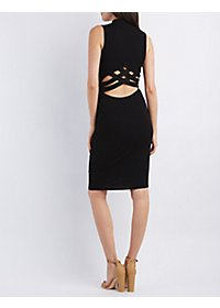 Strappy-Back Ribbed Bodycon Dress