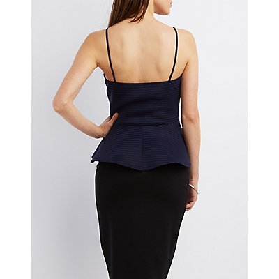 Plunging Strappy Peplum Top