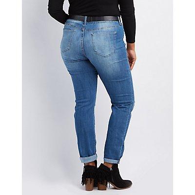 Plus Size Cello Destroyed Boyfriend Jeans