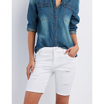 Destroyed Denim Bermuda Shorts | Charlotte Russe