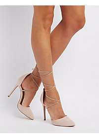 Lace-Up Pointed Toe Pumps