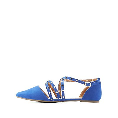 Strappy Studded Pointed Toe Flats